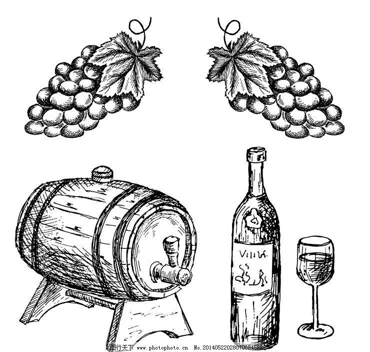 红酒葡萄酒图标商标 酒桶
