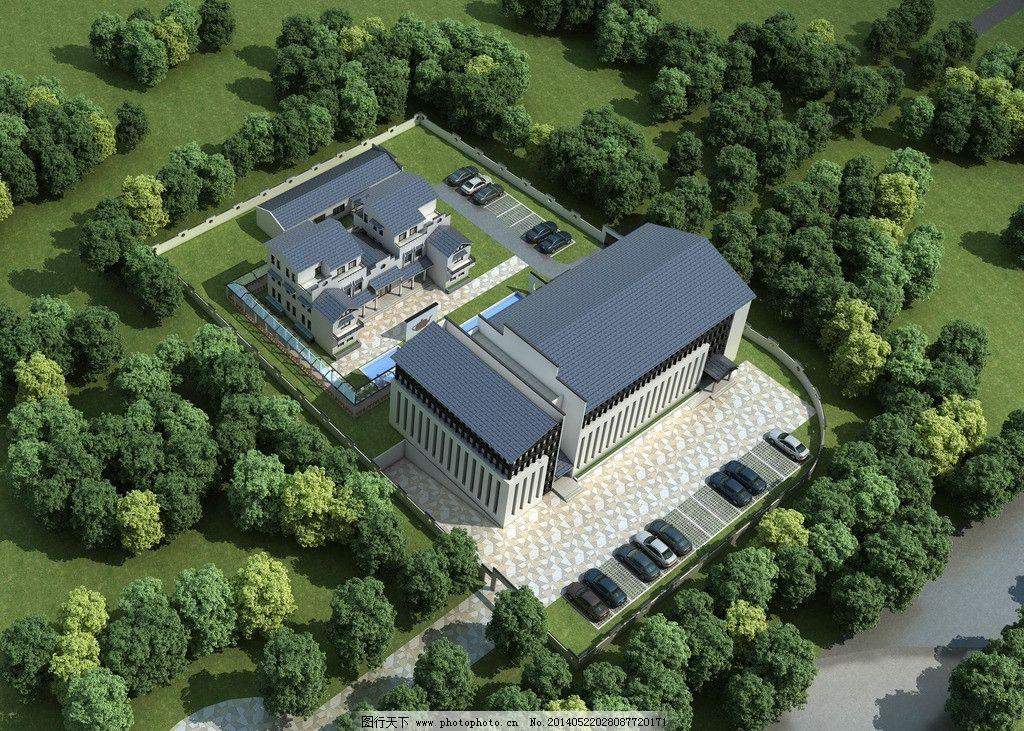中式建筑 中式别墅 别墅 新中式建筑 新中式徽派建筑鸟瞰 建筑设计