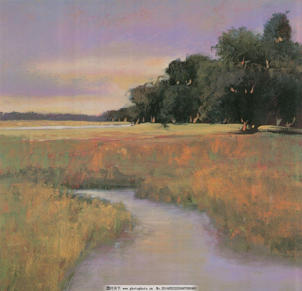 設計圖庫 環境設計 無框畫  風景油畫 油畫風景 樹林 草原風景 小溪