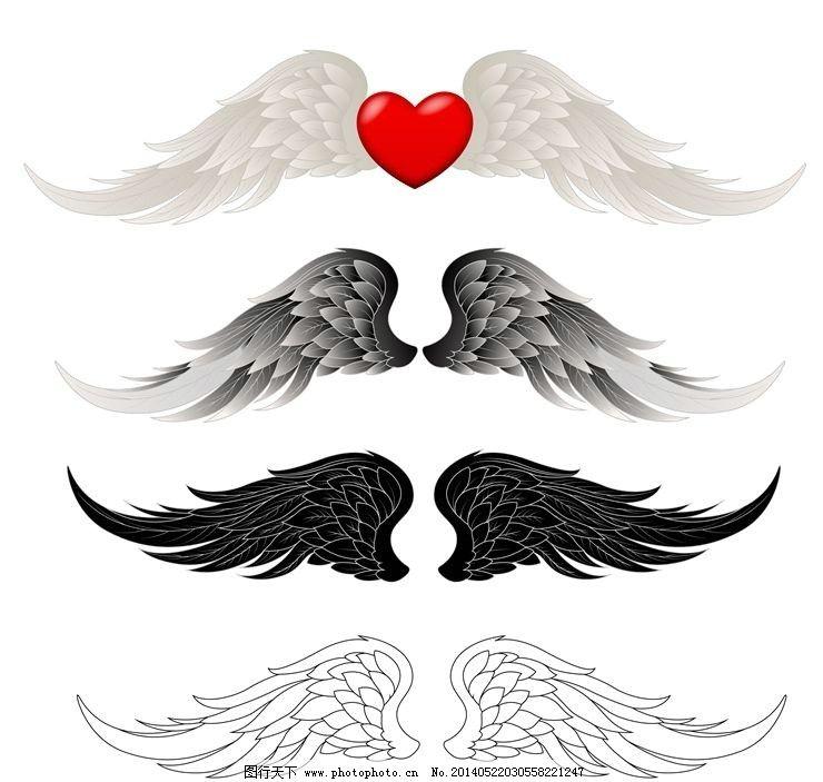 天使翅膀 翅膀 恶魔翅膀 白翅膀 黑翅膀 卡通设计 广告设计 矢量 ai