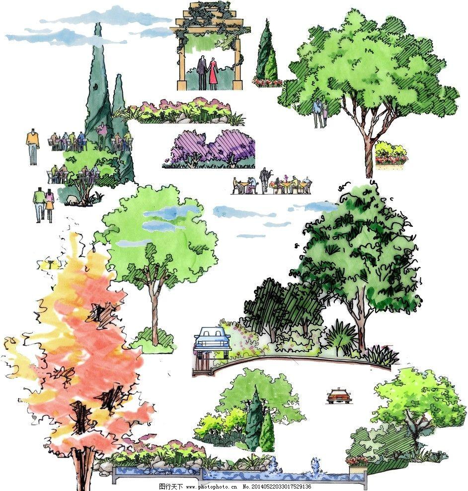 手绘树 效果图 景观园林 手绘素材 水彩效果 源文件