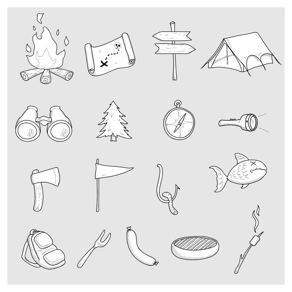 手绘日常品 手绘日常品免费下载 日用品 树 帐棚 矢量图 日常生活