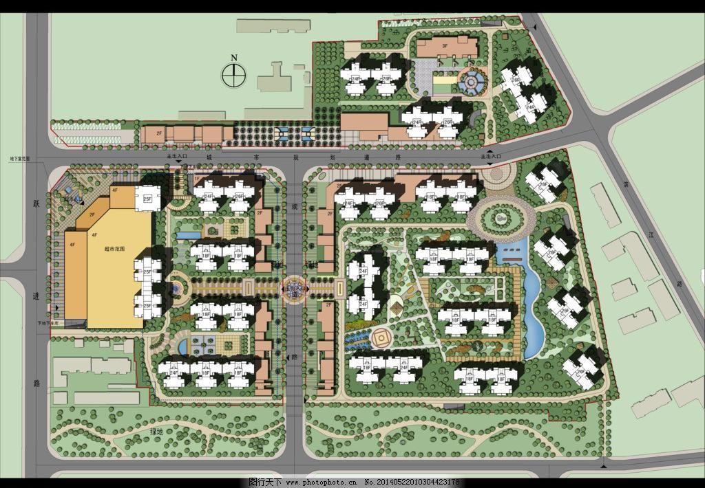 住宅小区 彩色 总平面图 彩平图 规划 道路 景观 绿化 水景 建筑设计图片