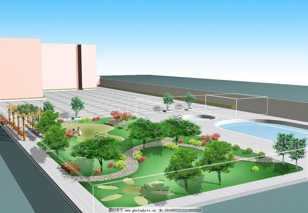 300dpi psd psd分层素材 花架 设计图 水池 源文件 幼儿园绿化效果图