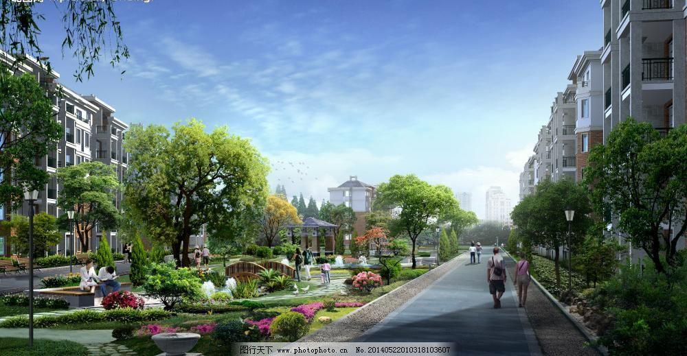 道路景观效果图模板下载 道路景观效果图 小区 中心 绿化 树 花 道路