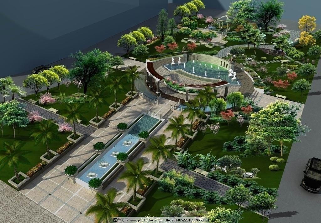 绿化设计 庭院绿化 环境 景观设计 ps分层 小区水景 幕墙 廊架 喷泉