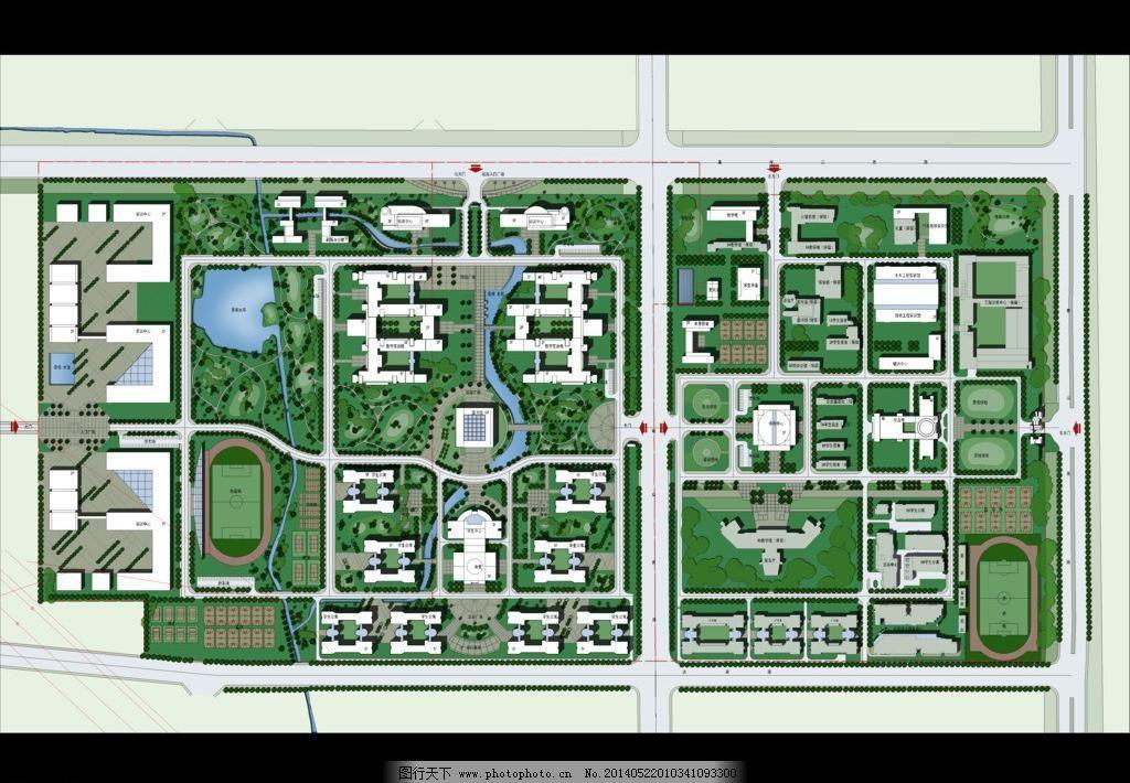 学校 彩色 总平面 规划 彩平图 景观 绿化 道路 水景 行道树 彩平图