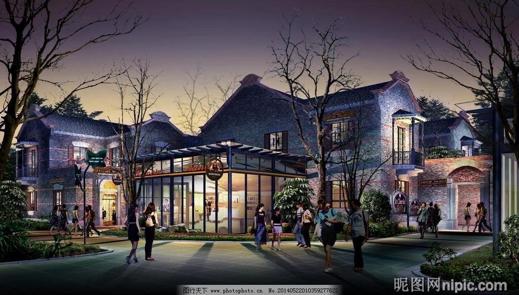 园林建筑景观设计效果图psd素材图片