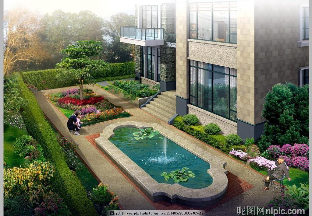 家庭庭院园林景观设计效果图图片
