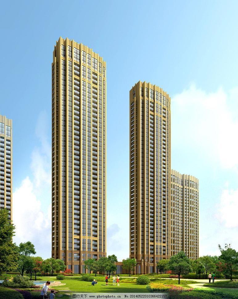 高档小区景观效果图 城市建筑 城市景观 高楼 公共建筑 建筑外观