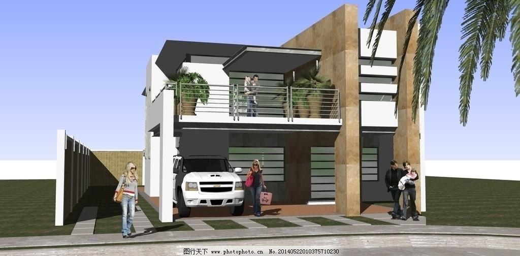 车库 环境设计 建筑 精品 景观 景观设计 绿化 模型 欧式小型别墅素材