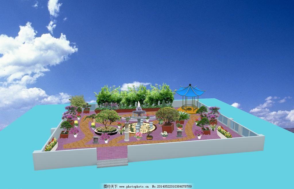 天台楼顶小花园绿化效果图图片_园林景观_装饰素材_图