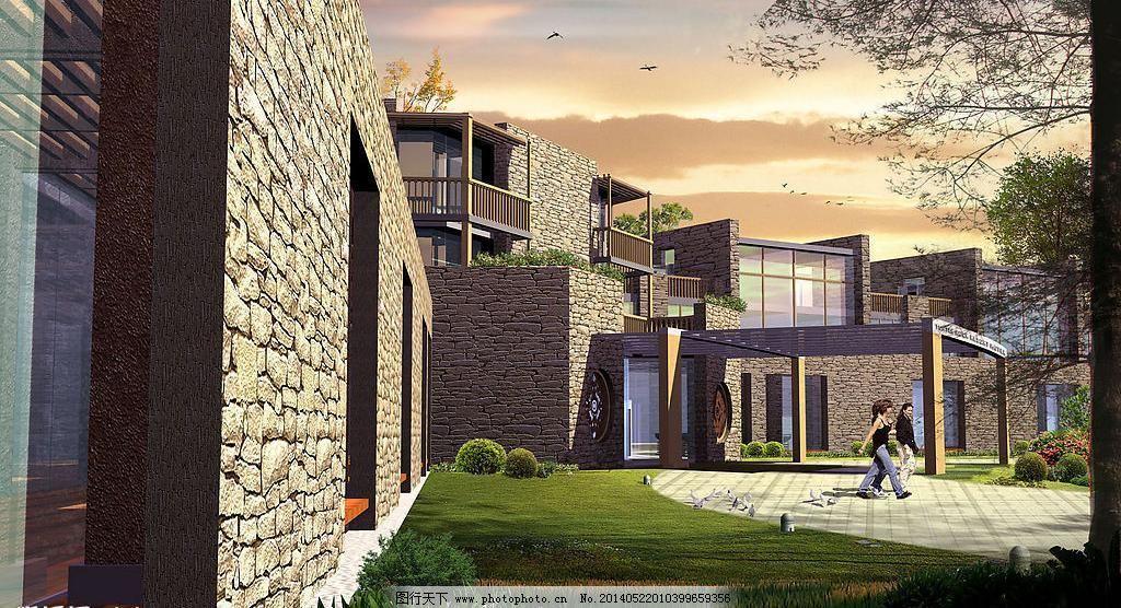 psd分层素材 环境设计 建筑 建筑设计 建筑效果图 路 绿化 人 内蒙古