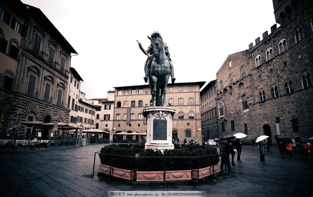 佛罗伦萨广场 骑士雕塑 意大利 欧式广场 欧洲雕塑 中世纪雕塑 国外图片
