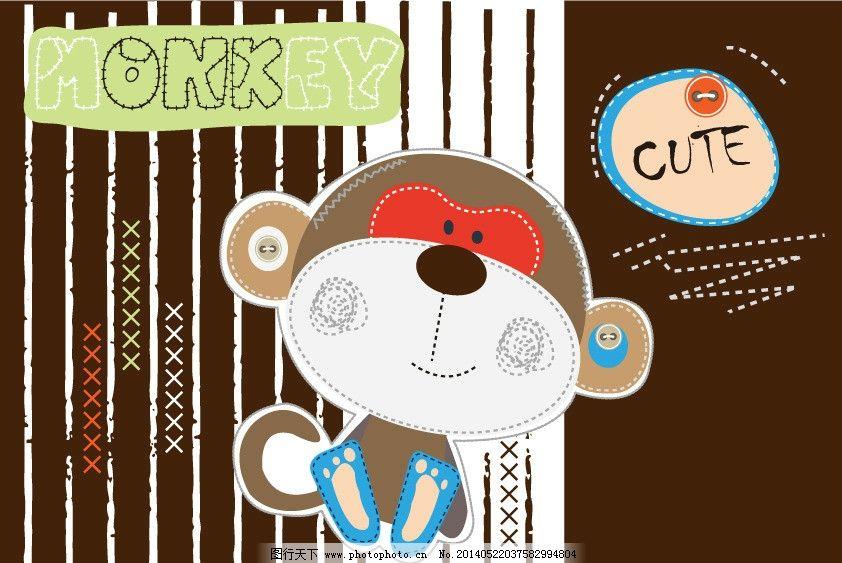 猴子 卡通动物 条纹 卡通画 卡通插画 儿童插画 卡通背景 卡通底纹 可爱背景 T恤图案 矢量 背景底纹 卡通设计 广告设计 AI