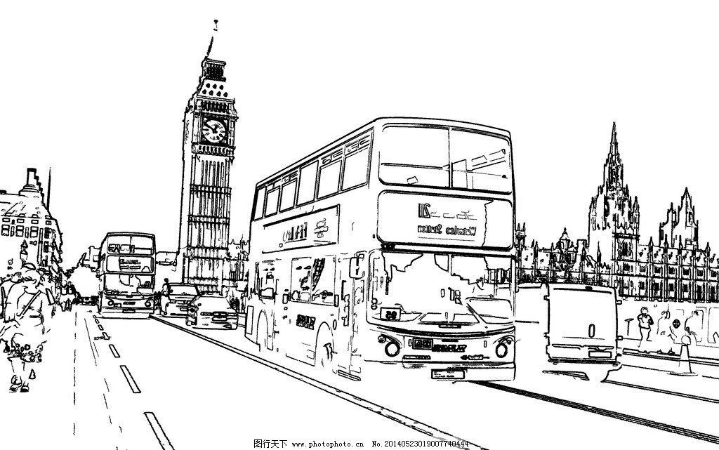 白描 线描 钢笔画 建筑钢笔画 街道场景速写 手绘草图 工笔 美术 黑白