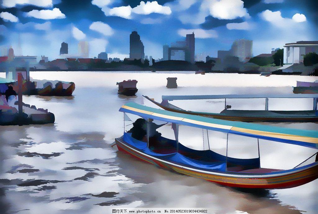 水彩风景画 大海 海边风景 码头 船只 蓝天白云 水波倒影 手绘装饰画