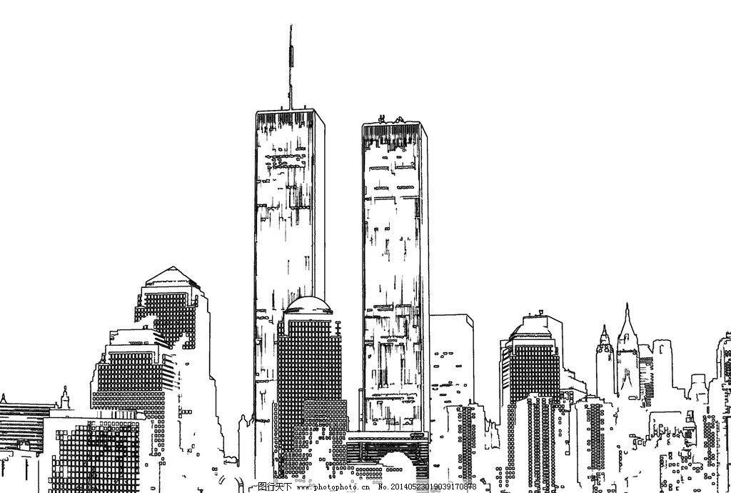 建筑手绘 建筑 手绘 楼房 高楼 大厦 高楼大厦 建筑物 建筑景观 白描
