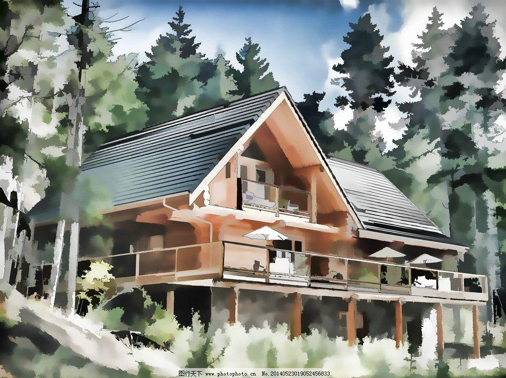 建筑水彩画图片