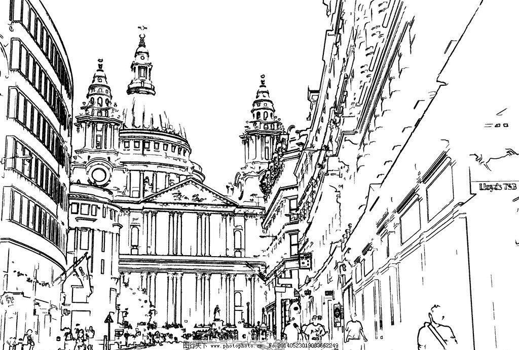 线描 钢笔画 建筑钢笔画 建筑速写 手绘草图 工笔 美术 黑白稿 艺术画