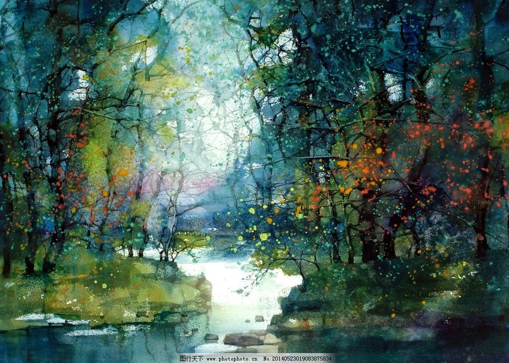 水彩风景画 冷色调 小溪
