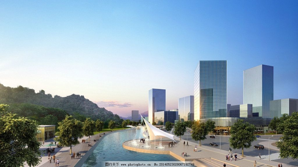 城市建筑 城市 景观 透视 黄昏 效果 建筑设计 环境设计 设计 72dpi