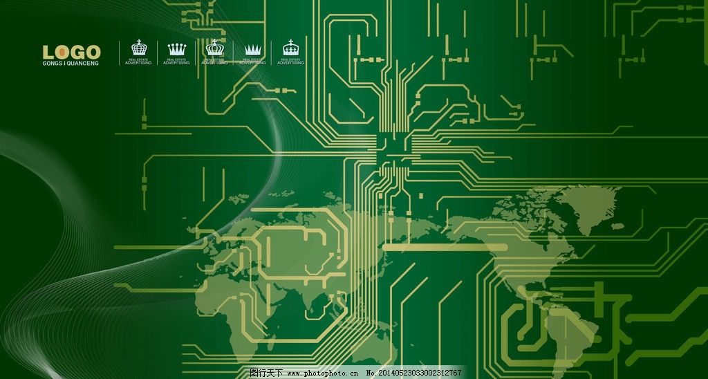 科技背景 线路板 电路板 世界地形图 源文件