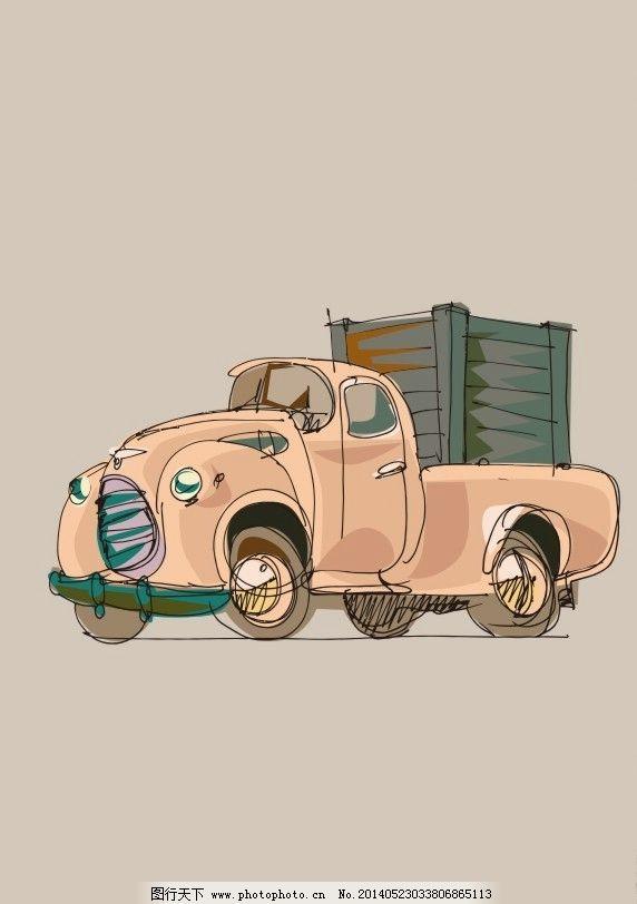 卡车 货柜 老年车 创意图案 动漫 英文 抽象 几何 卡通 文化