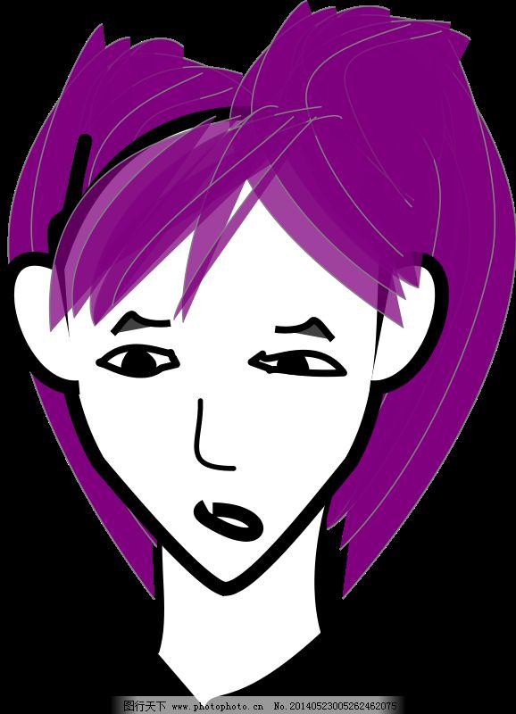头发女孩矢量 女孩的卡通头发 矢量卡通女孩 矢量图 花纹花边图片