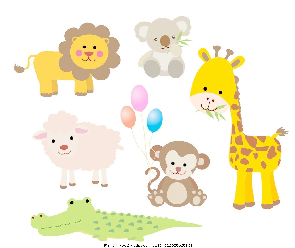 矢量卡通动物 动物 动物的设置 设置 设置动画剪辑艺术纹身的动物