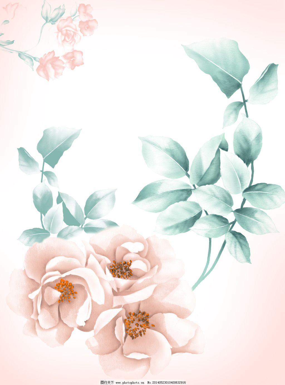 粉色浪漫 花束 玫瑰 时尚 手绘 移门 月季 玫瑰 月季 花束 花簇 粉色