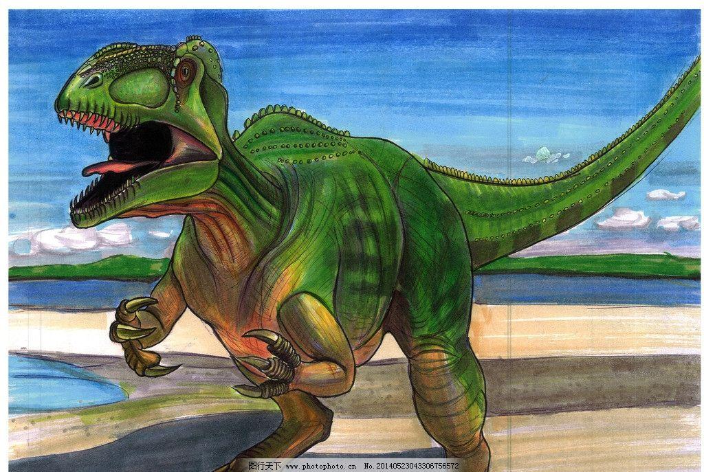 手绘恐龙 南方巨兽龙 马克笔 手绘 绿色恐龙 恐龙时代 漫画 儿童绘本