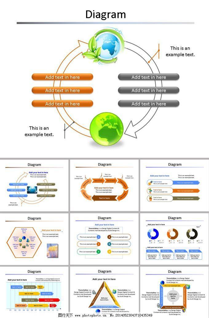 精致图表ppt模板免费下载 ppt模板 地球 图表 循环 地球 循环 图表图片
