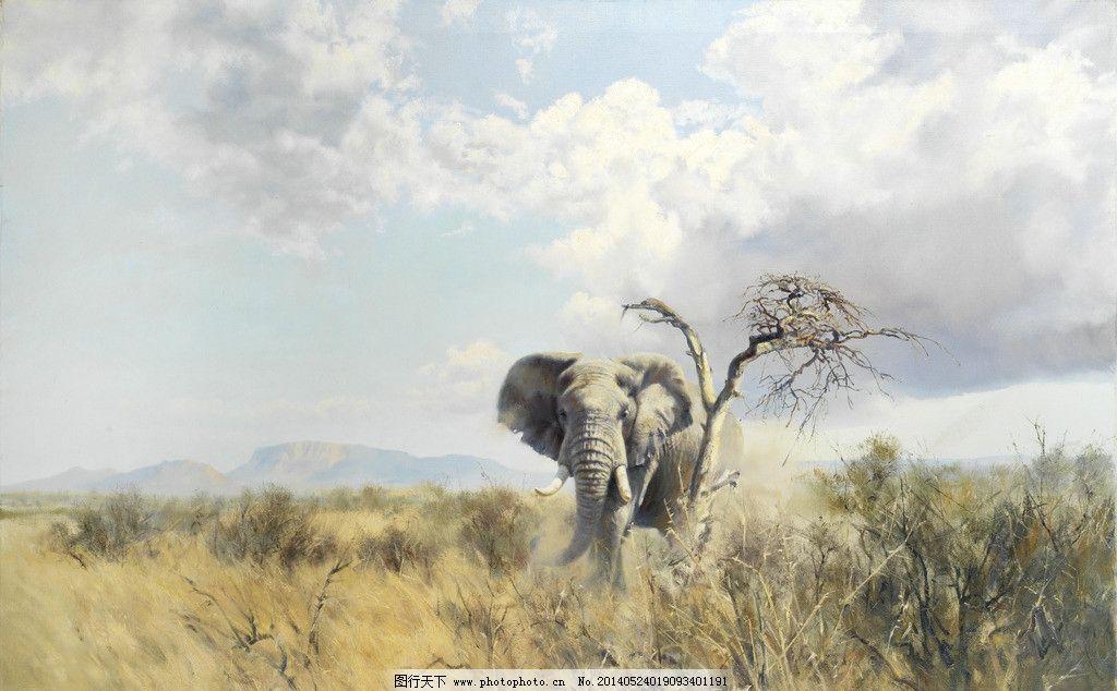 大象油画图片