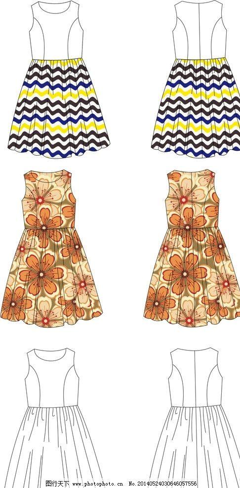 时装图 时装画 服装设计图 连衣裙 裙子 女装连衣裙 条纹 花朵 服装