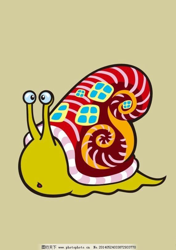蜗牛 彩色 创意图案 动漫 t恤矢量素材 创意t恤模板下载 创意t恤 英文