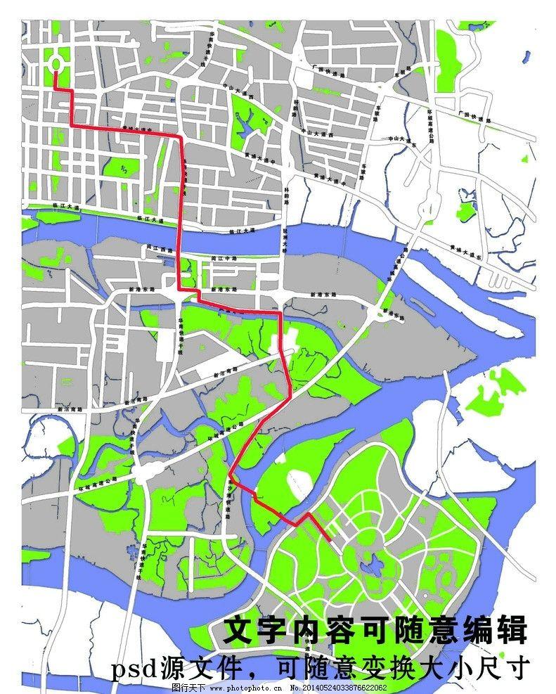 广州大学城地图psd图片