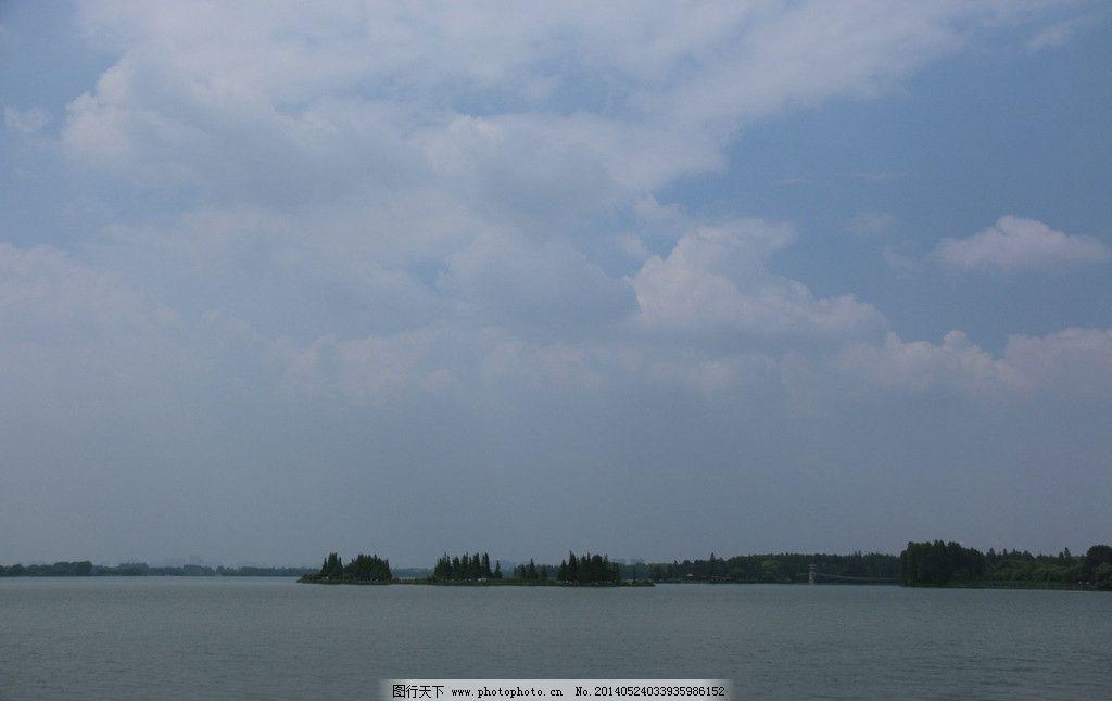 东湖风光 湖水 树木 湖心岛 白云 蓝天 风景 武汉东湖风光 国内旅游