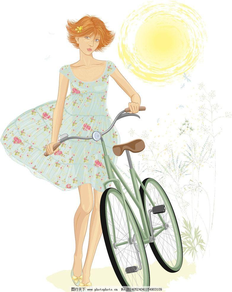 时尚少女 手绘少女 手绘服装设计 潮流 设计 骑自行车少女 单车 时装