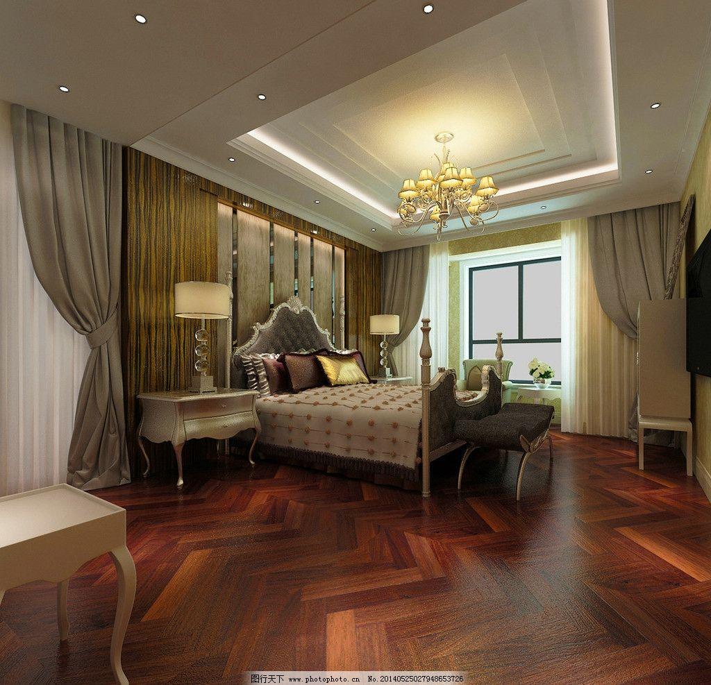 别墅家装卧室效果图 欧式 别墅 家装             女主人 背景墙 室内