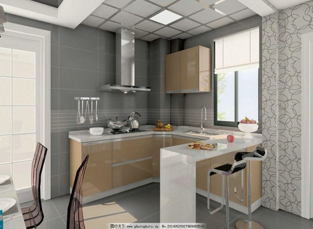 橱柜效果图 厨房装修 橱柜 现代橱柜 橱柜带吧台效果图 室内设计 环境