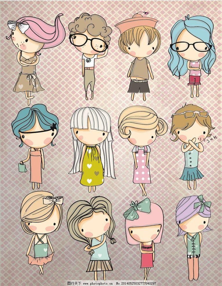 12款手绘女孩 女孩 手绘 彩绘 手绘女孩 彩绘女孩 蝴蝶结 戴帽子 戴