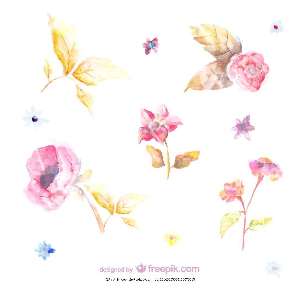 ai 背景 壁纸 彩色 春天 花 花的海报 花儿 花卉 卡 水彩花朵矢量素材