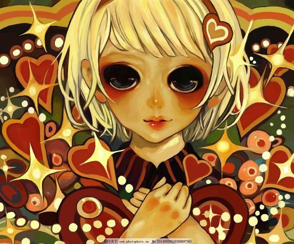 女孩 手绘板绘制 painter 黄色头发小女孩 爱心 星星 动漫 手绘 动漫