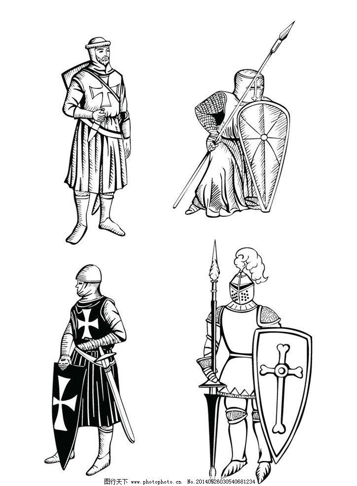 中国古代武士兵器服装展示