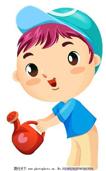 小男孩浇水免费下载 爱心 帽子 男孩 水壶 微笑 水壶 帽子 男孩 爱心