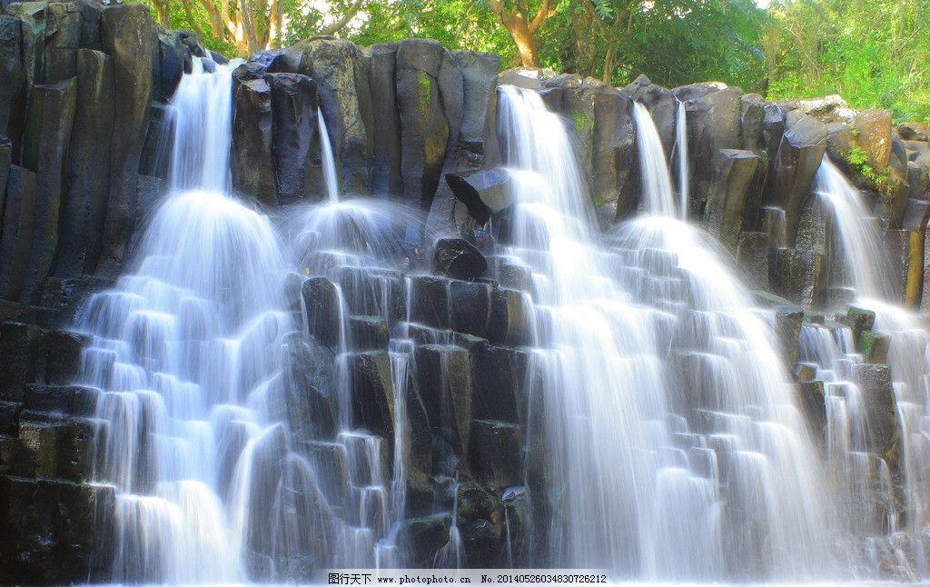 瀑布 河流 溪流 绿色 自然 美景 唯美 美丽自然 摄影 自然景色高清