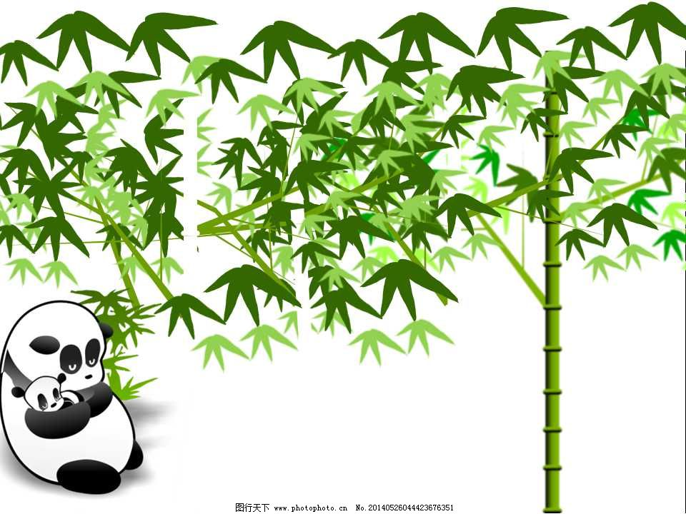手绘熊猫竹子ppt模板免费下载 大熊猫 动物 绿色 手绘 熊猫 竹叶 竹子