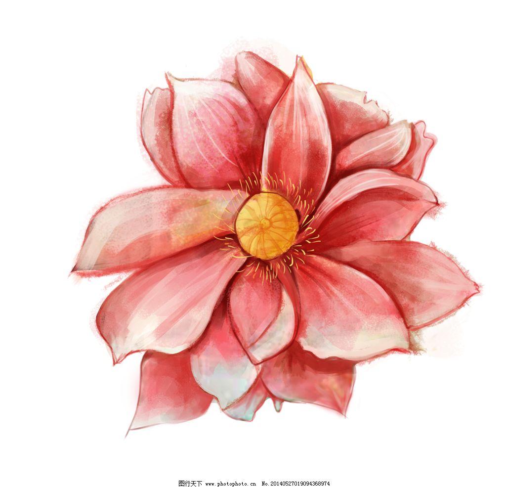 水彩花 手绘 红色花 手绘红色花 荷花 绘画书法 文化艺术 设计 118dpi
