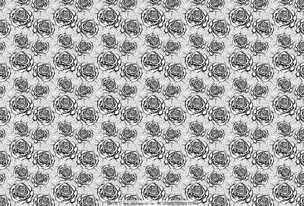 黑白玫瑰花图案图片